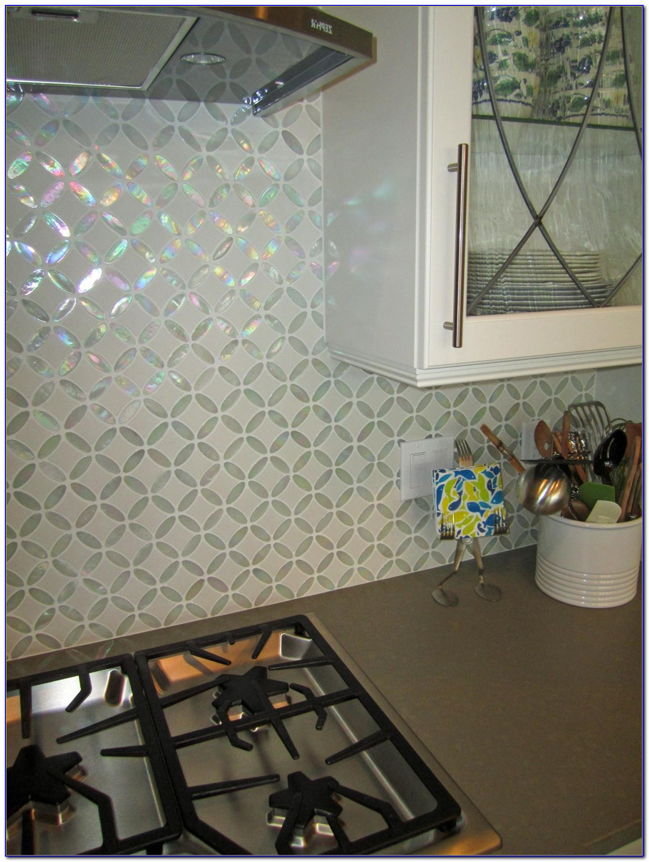 Glass Tile Backsplash Blue