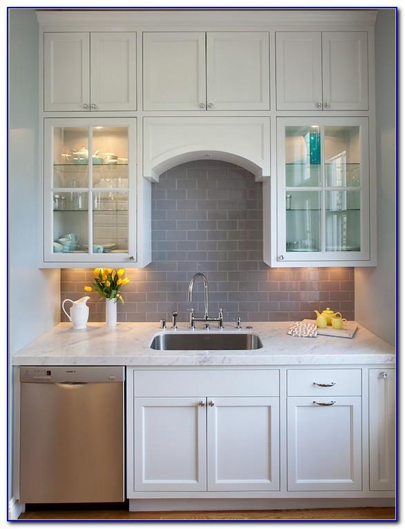 Gray Glass Subway Tile Backsplash In Kitchen