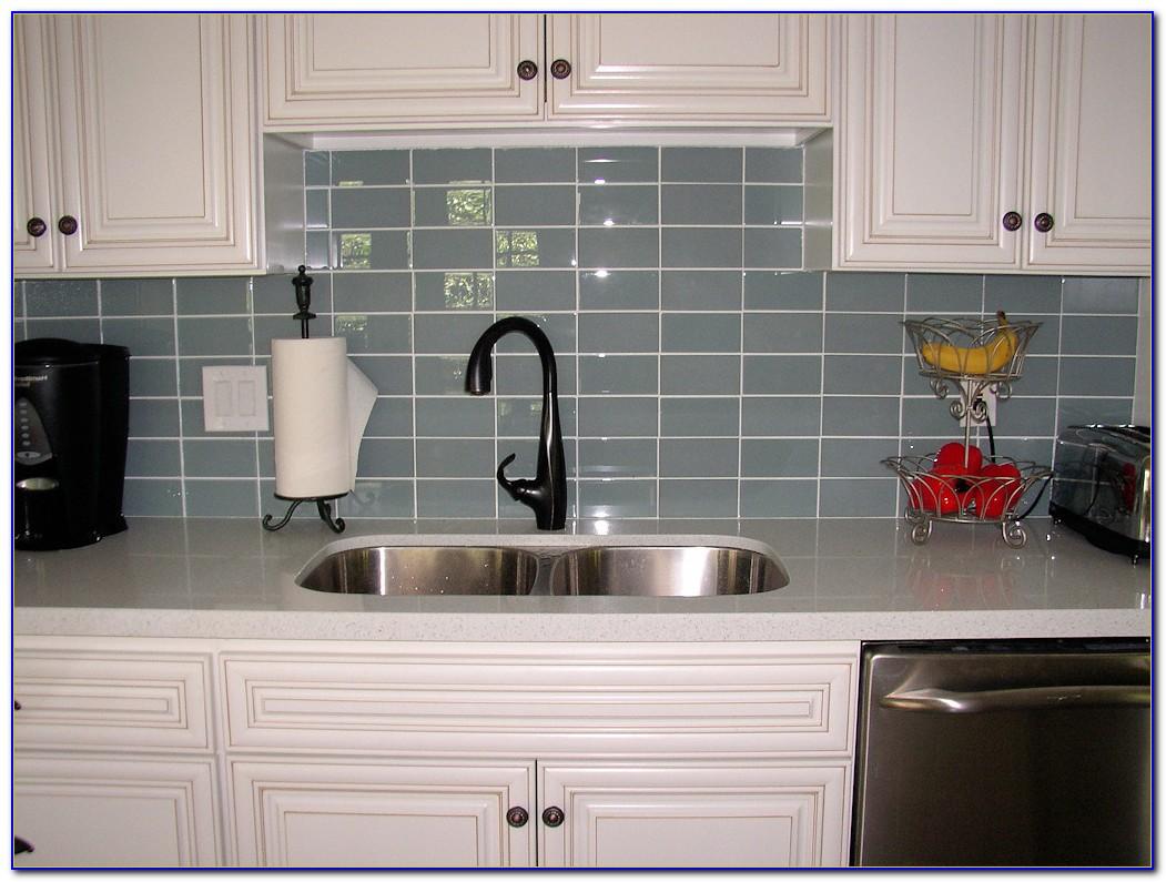 Gray Glass Subway Tile Kitchen Backsplash