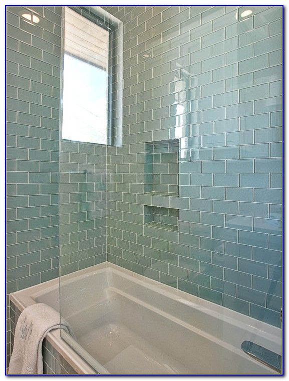 Gray Glass Subway Tile Shower