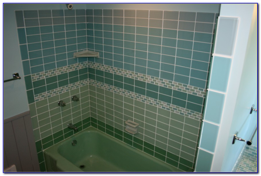 Green Glass Subway Tile Shower