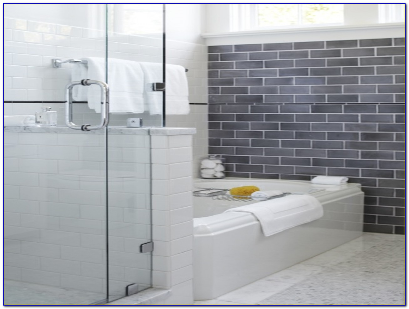 Grey Subway Tile Backsplash Bathroom