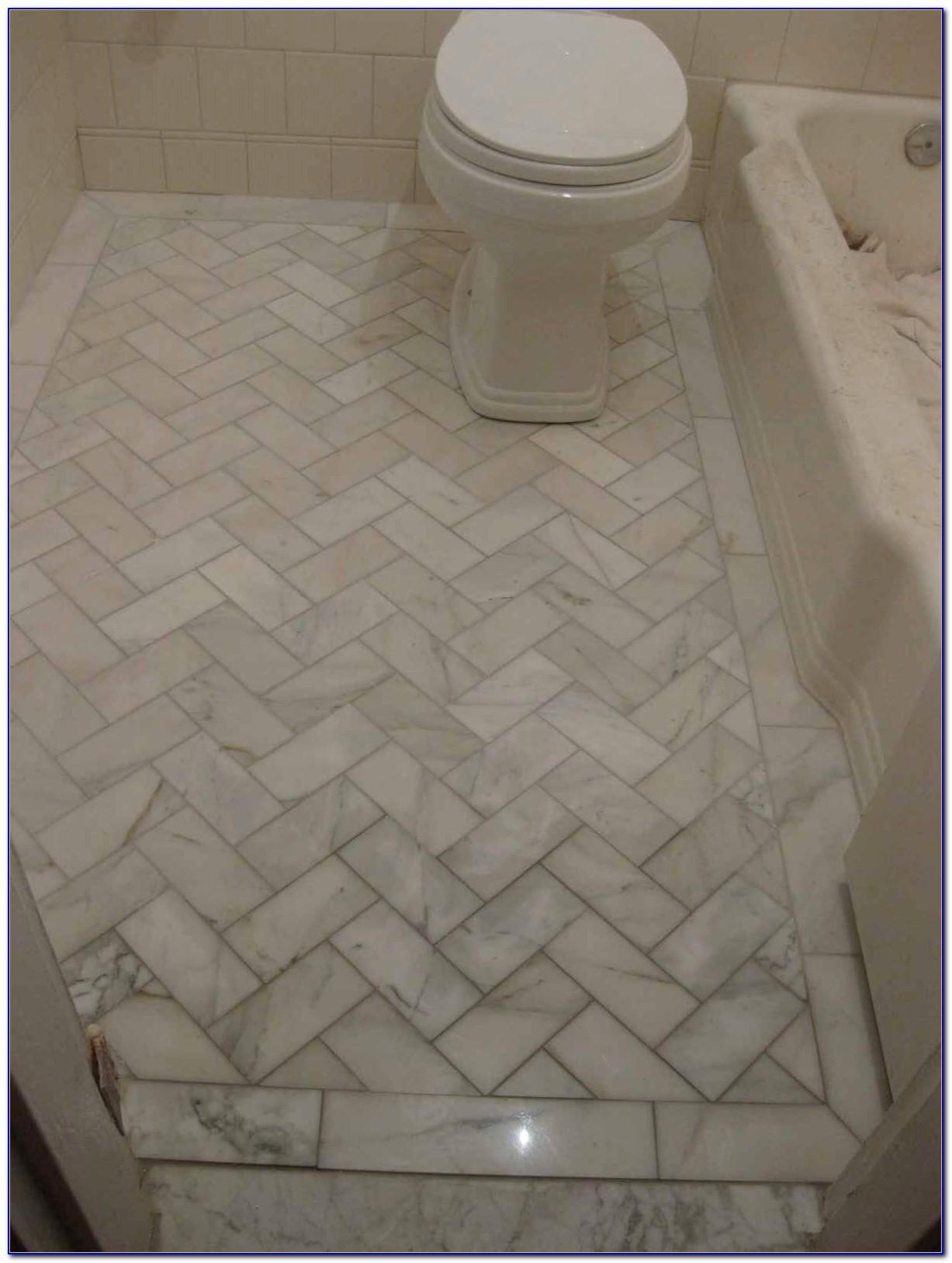 Herringbone Pattern Tile Bathroom Floor