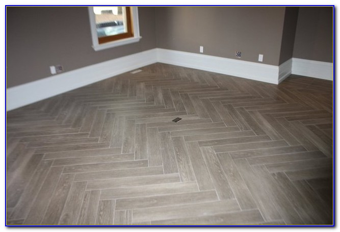 Herringbone Tile Pattern Kitchen Floor