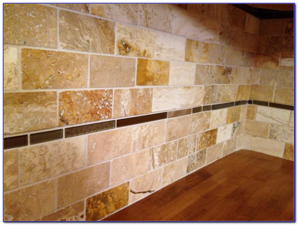 Honed Travertine Subway Tile Backsplash