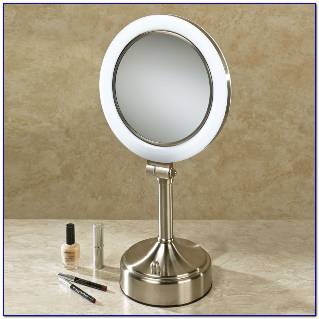 Large Lighted Tabletop Makeup Mirror