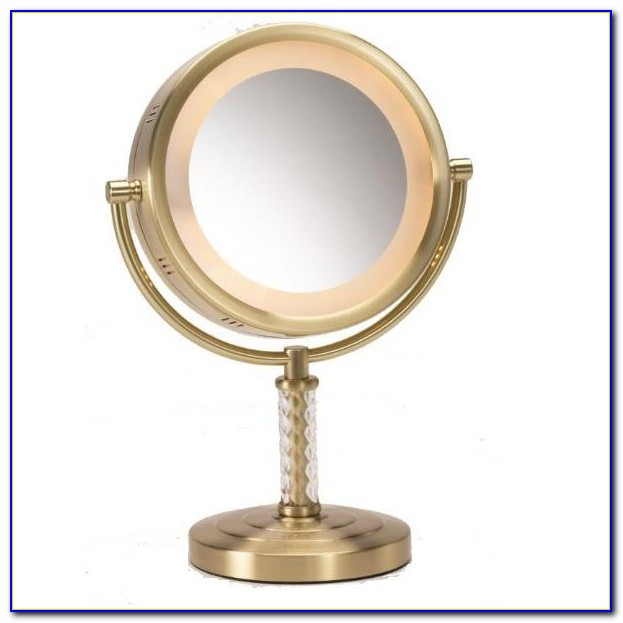Large Lighted Tabletop Vanity Mirror