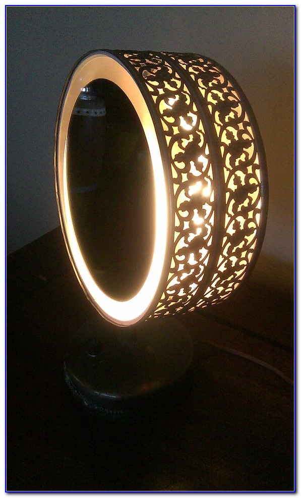 Led Lighted Tabletop Cosmetic Mirror Black