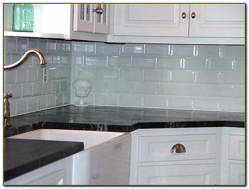 Light Gray Glass Subway Tile Backsplash