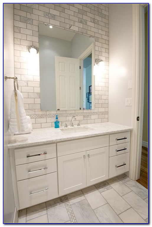 Marble Subway Tile Backsplash Bathroom