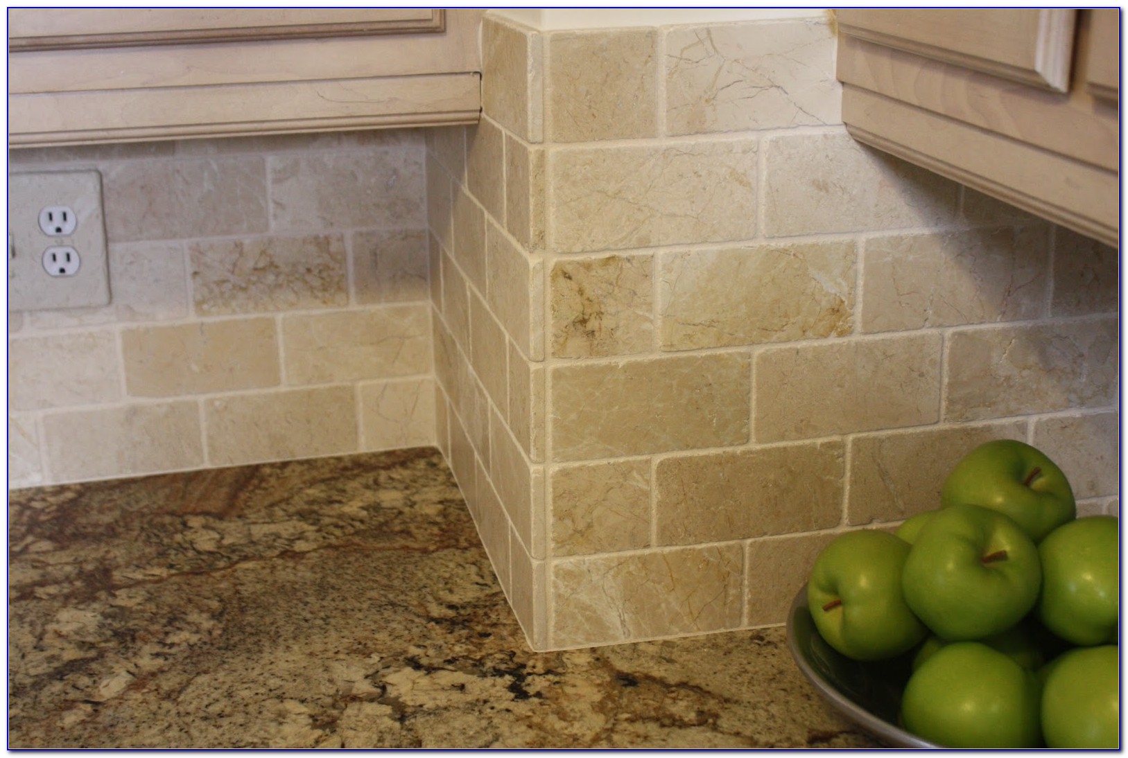 Natural Stone Subway Tile Backsplash