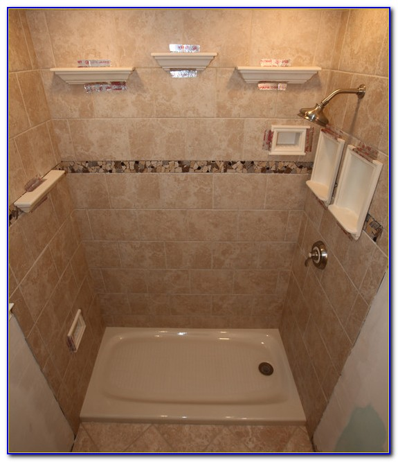 Shower Shelves Over Tile
