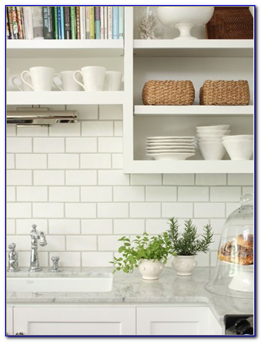 Tumbled Marble Subway Tile Backsplash