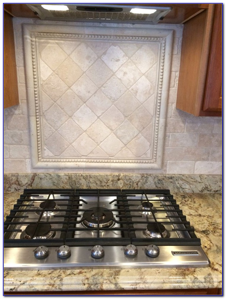 Tumbled Travertine Subway Tile Backsplash