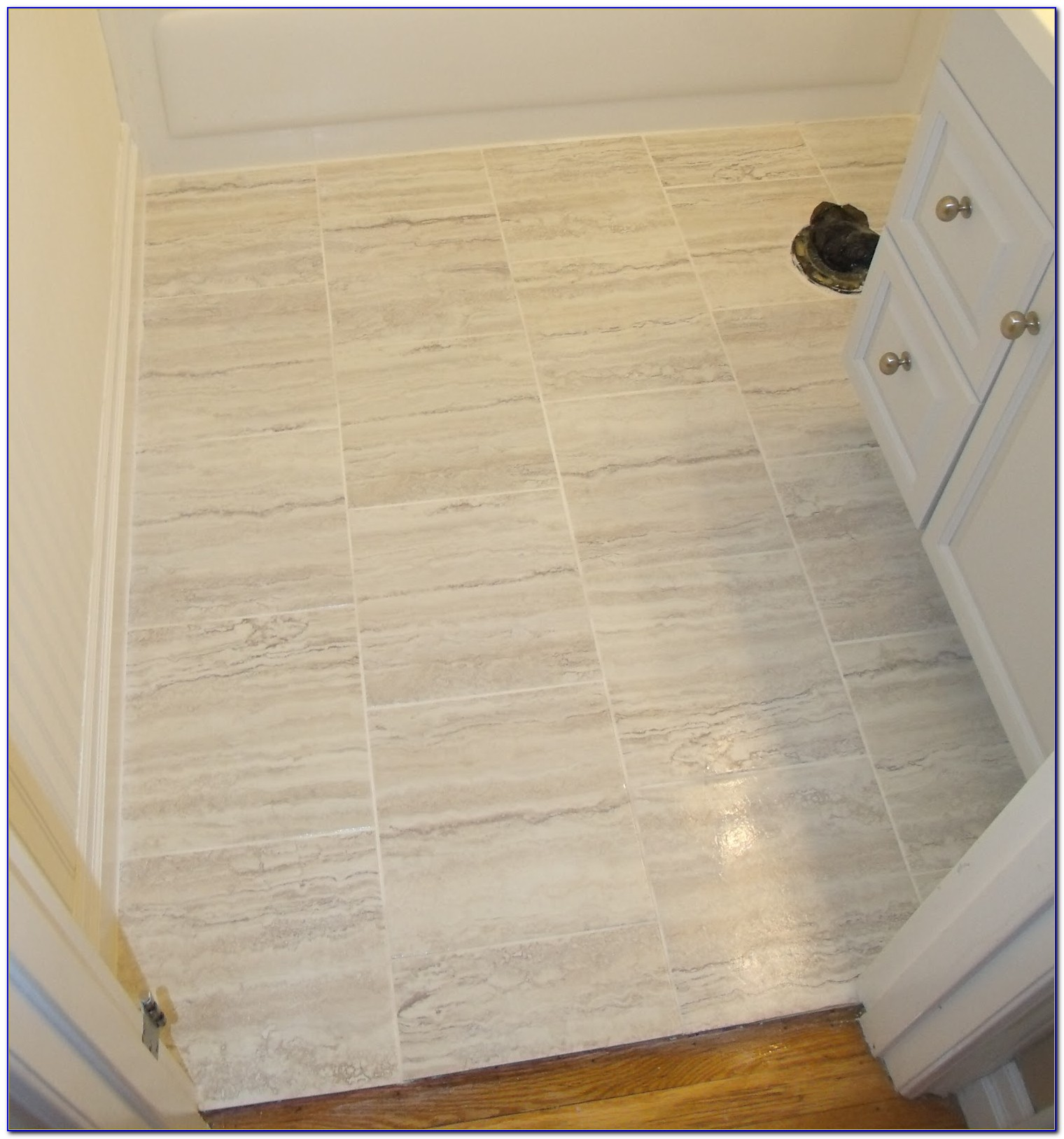 Vinyl Tile With Grout In Bathroom