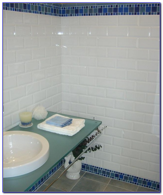 White Beveled Subway Tile 4x8