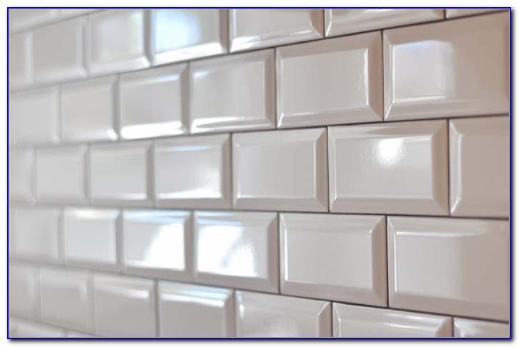 White Beveled Subway Tile Kitchen