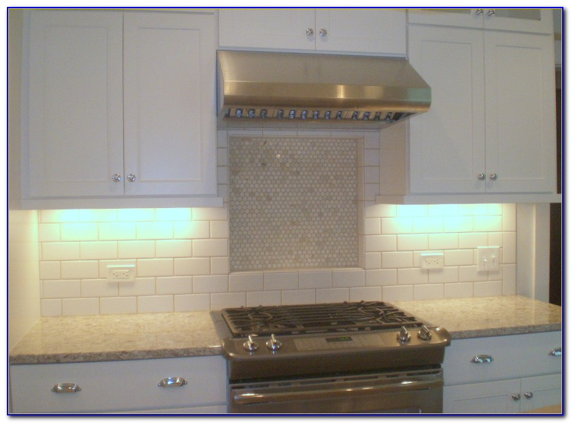 White Ceramic Subway Tile Backsplash