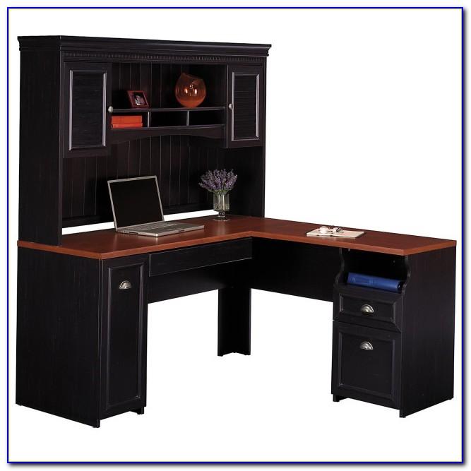 Auston Black Corner Desk With Hutch