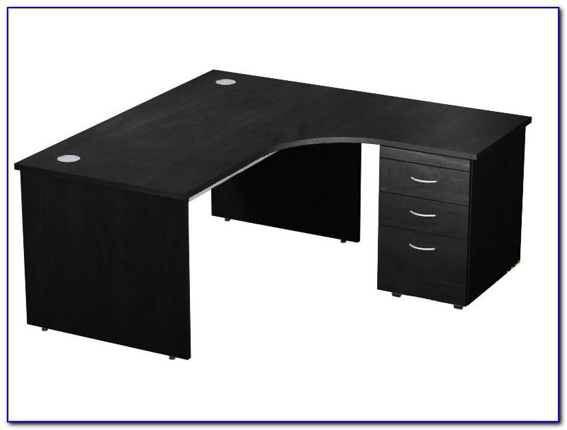 Black Antiqued L Shaped Corner Desk With Included Hutch