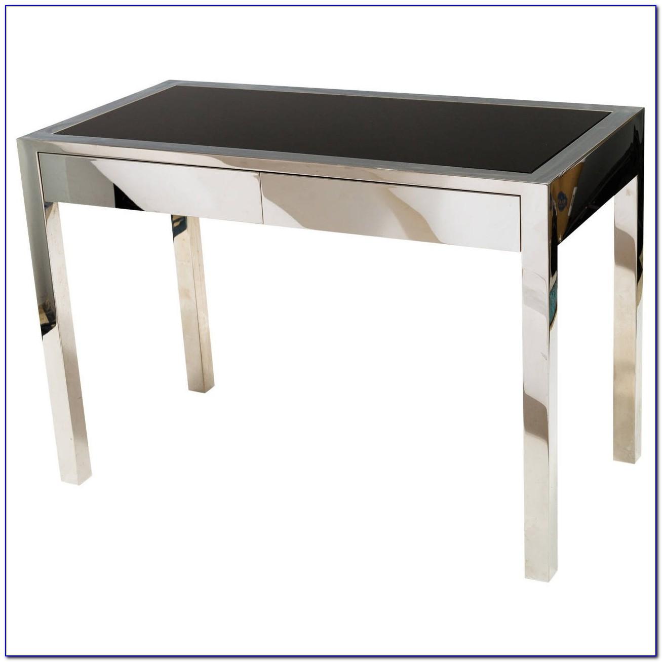 Black Glass And Chrome Desk