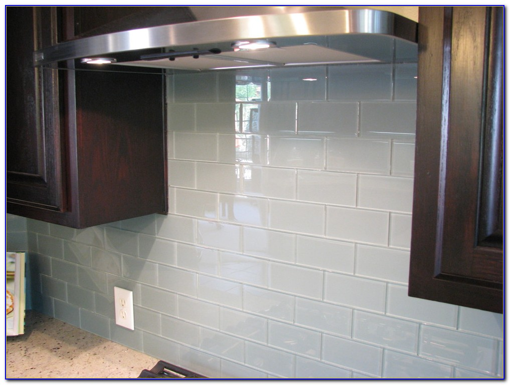 Black Glass Tile Backsplash Kitchen