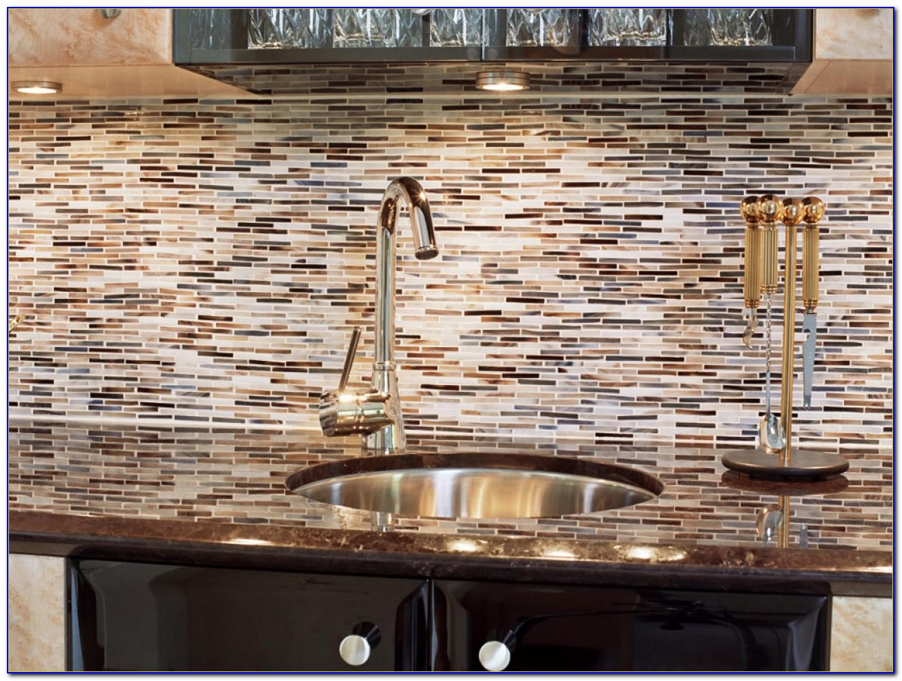 Black Mosaic Tile Backsplash