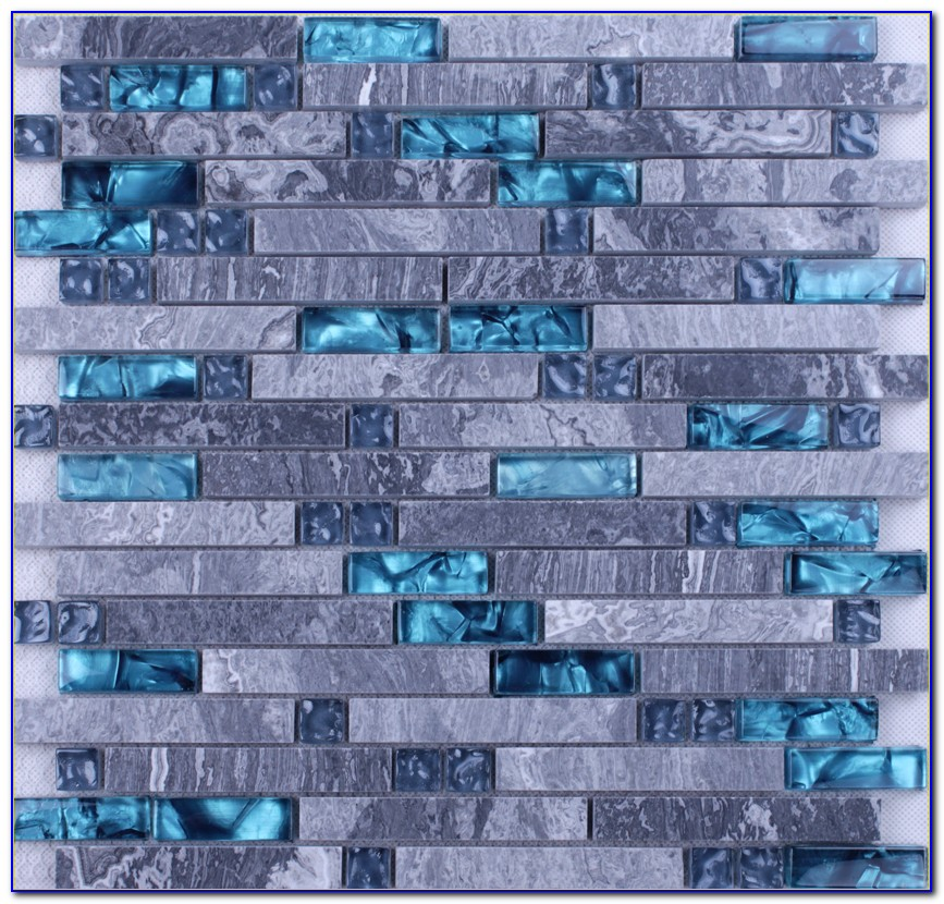 Blue Crackle Glass Mosaic Tile Backsplash
