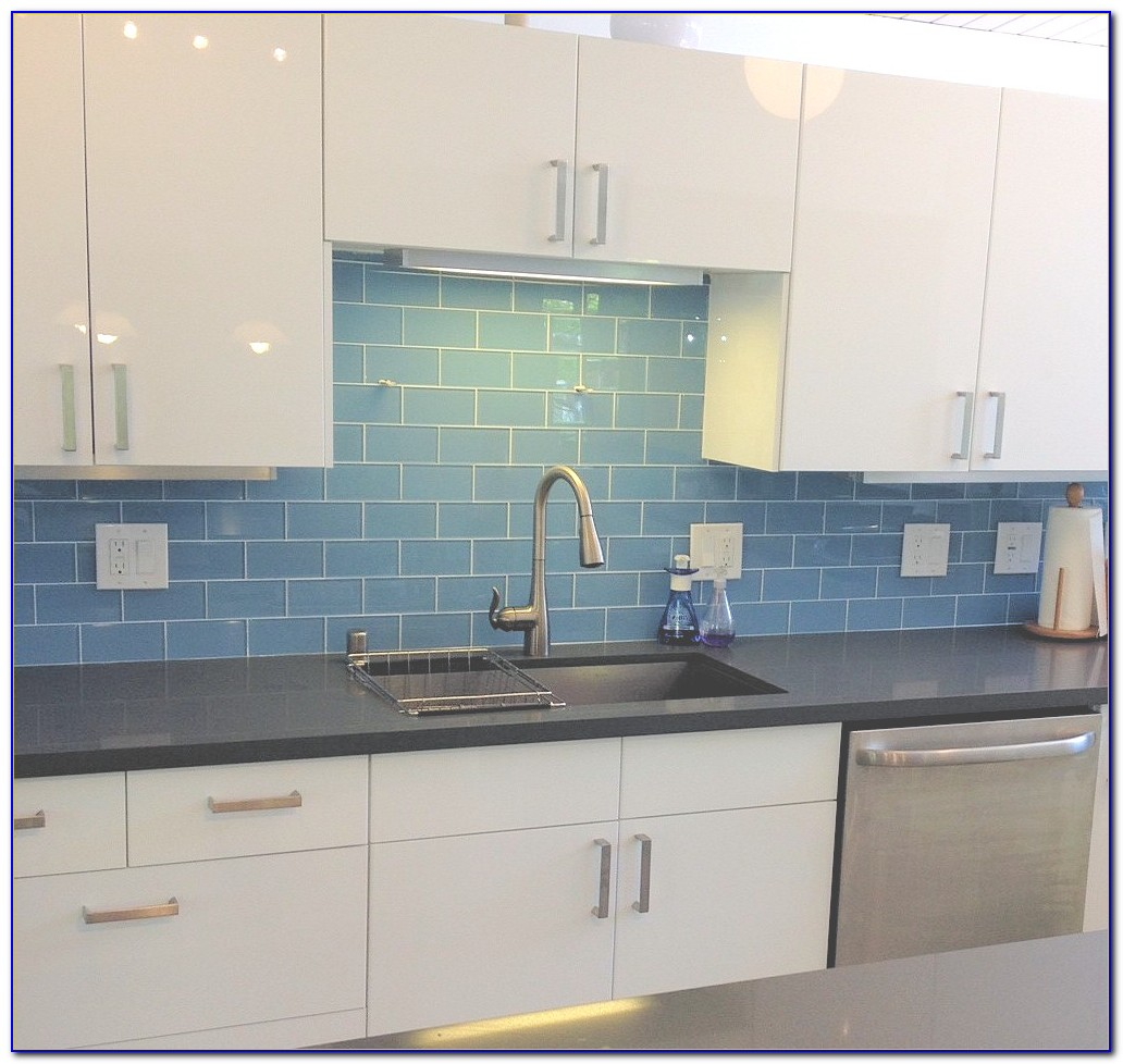 Blue Glass Backsplash Tile