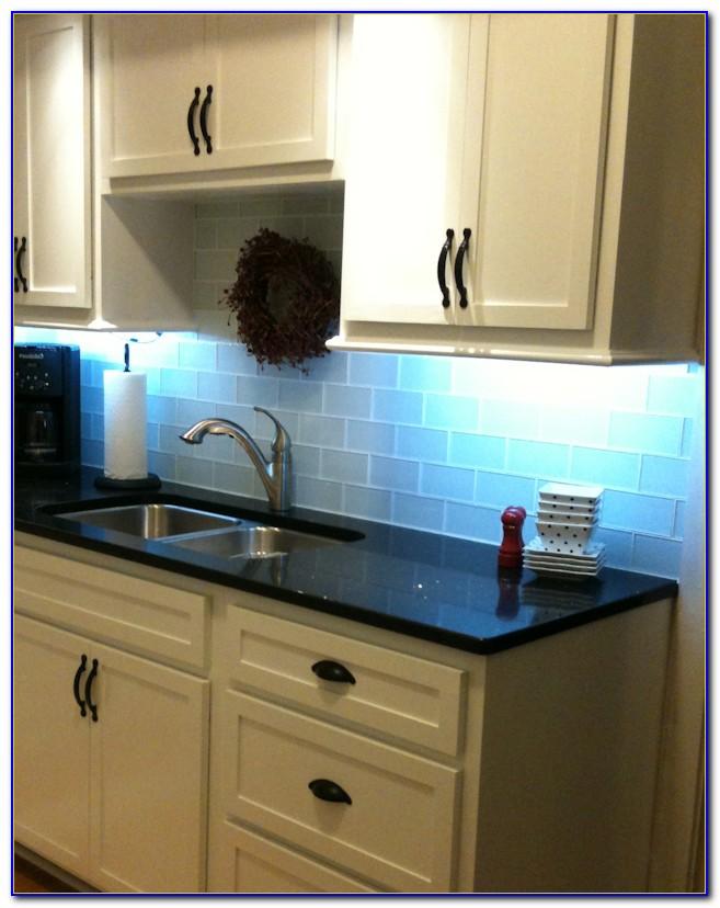 Blue Glass Tile Backsplash Bathroom