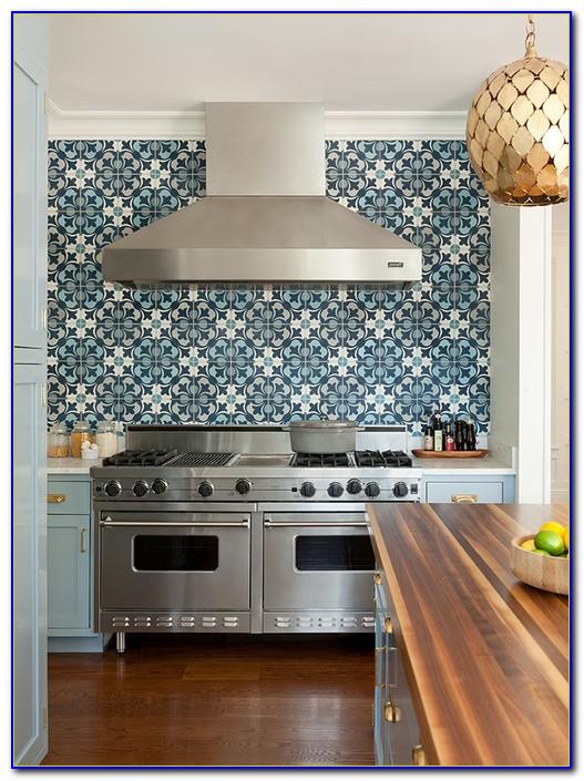 Blue Mosaic Tile Kitchen Backsplash