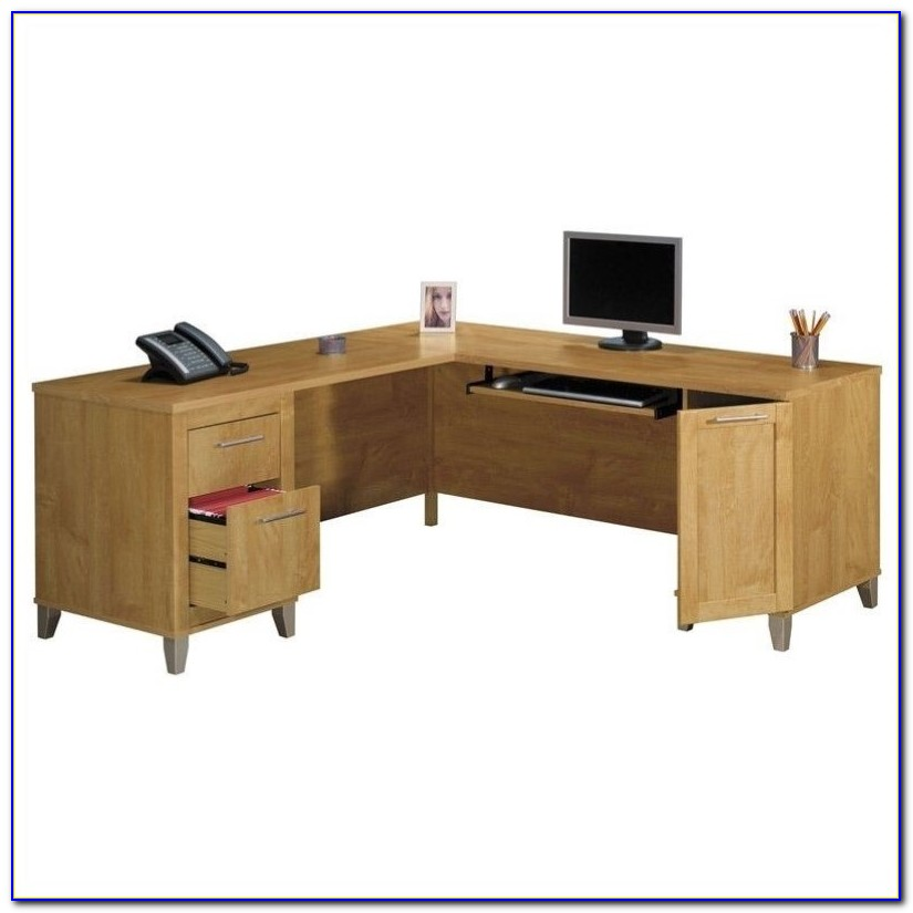 Bush L Shaped Desk With Hutch