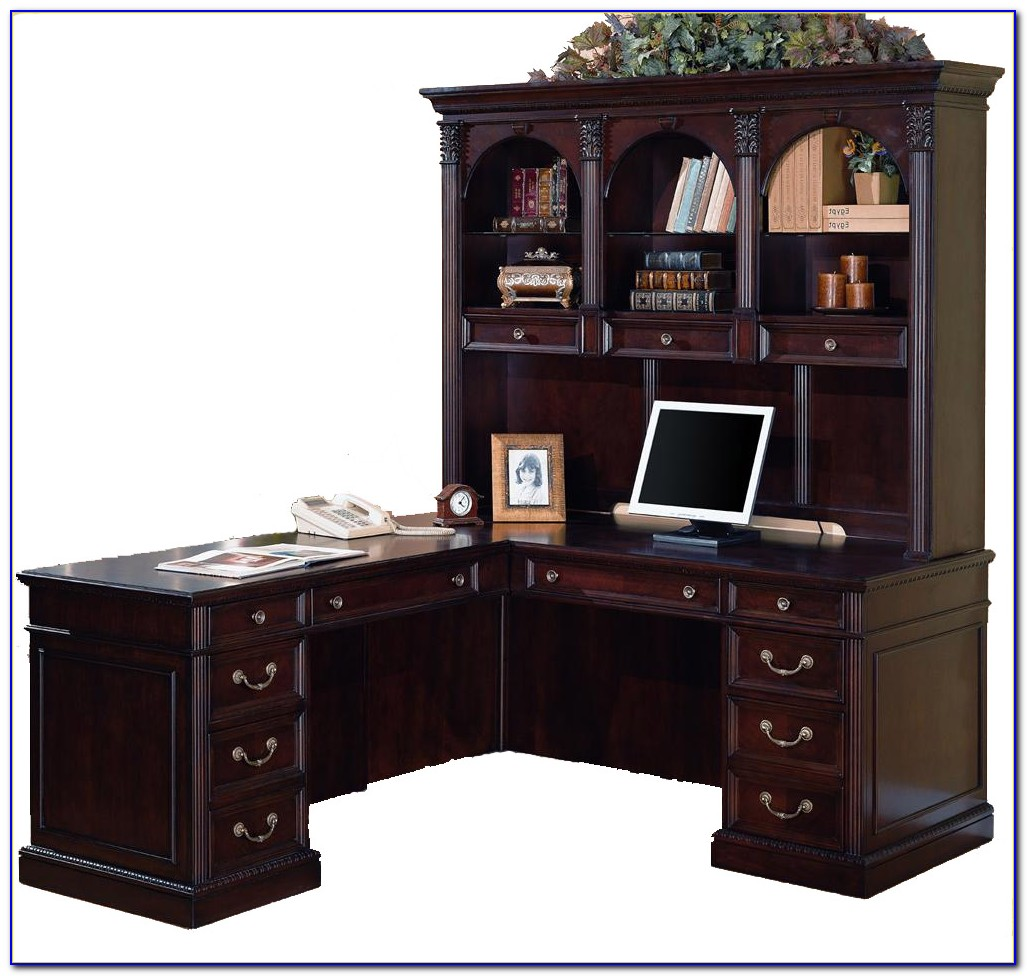 Cherry Office Desk With Hutch