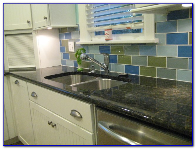Colored Glass Subway Tile Backsplash