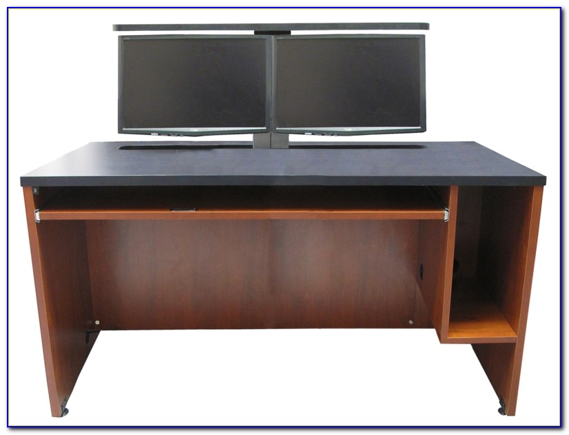 Computer Desk With Hutch Two Monitors