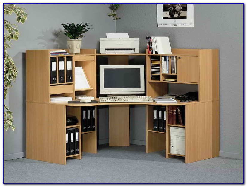 Computer Desk With Shelf Above