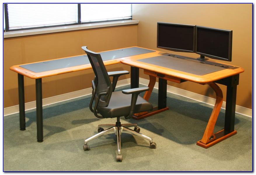 Dual Monitor Corner Computer Desk