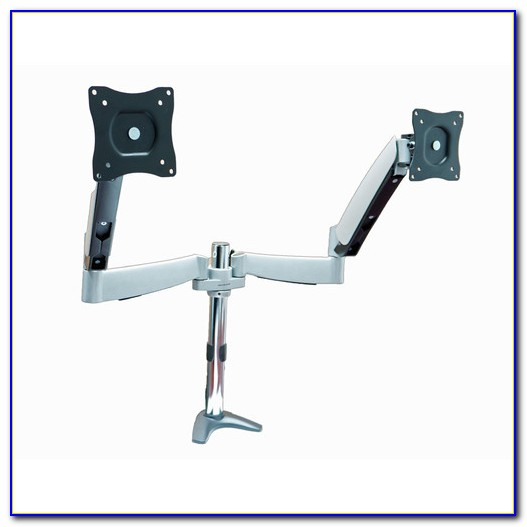 Dual Monitor Desk Mount With Two Adjustable Bracket Arms
