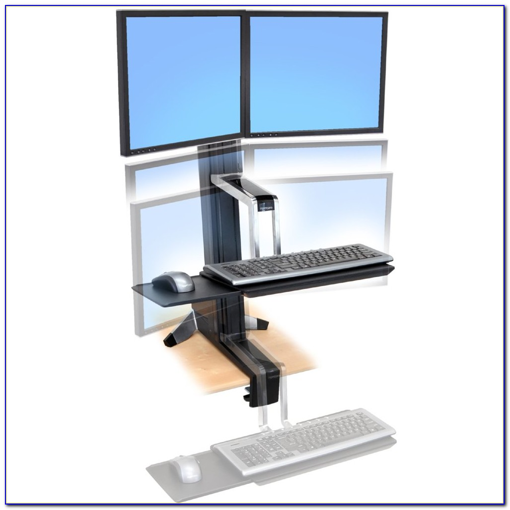 Dual Monitor Stand Up Desk