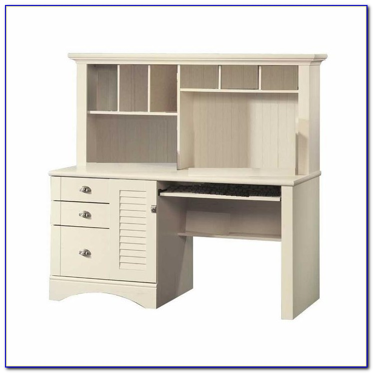 Fairview Antique White L Desk With Hutch