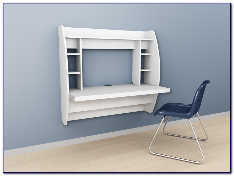 Floating Desk With Storage White