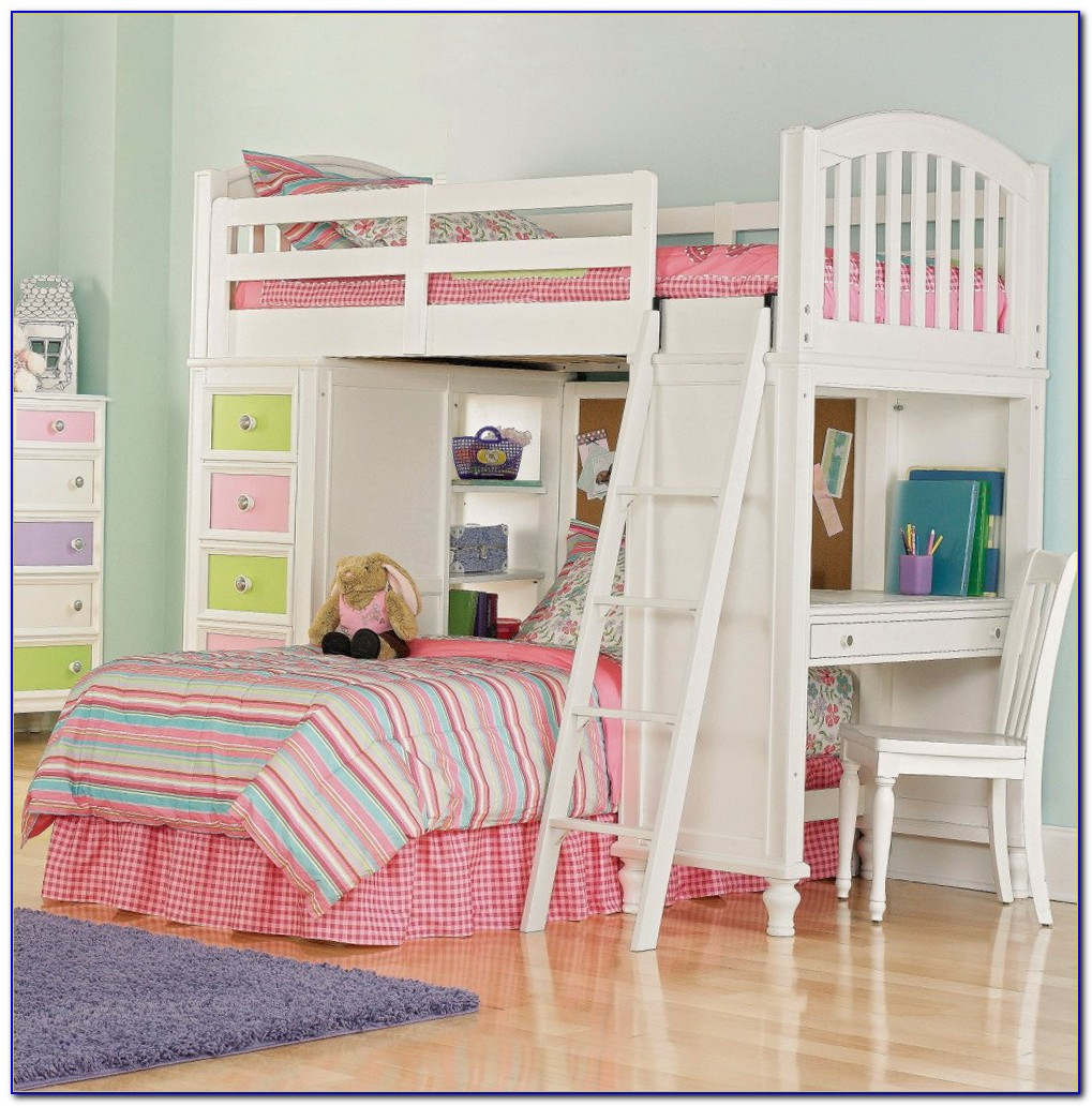 Girls Bunk Bed With Desk