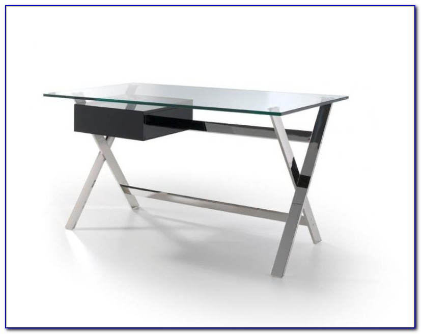Glass And Chrome Trestle Desk
