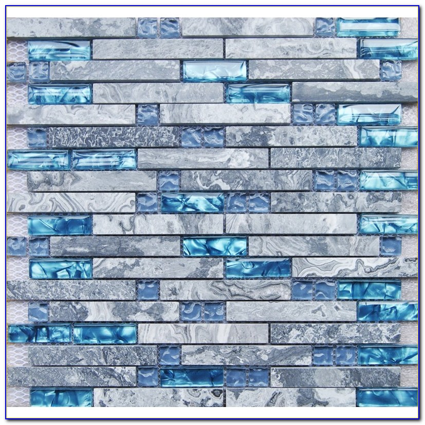 Gray Blue Mosaic Tile Backsplash