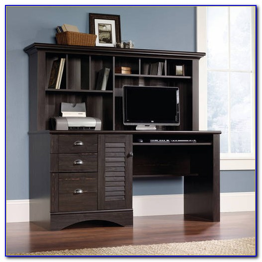 Harbor View Computer Desk With Hutch Antiqued Black Paint