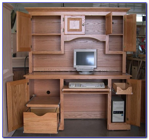 Mission Oak Desk With Hutch