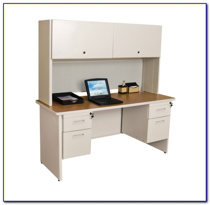 Mission Style Secretary Desk With 2 Lateral File Drawers