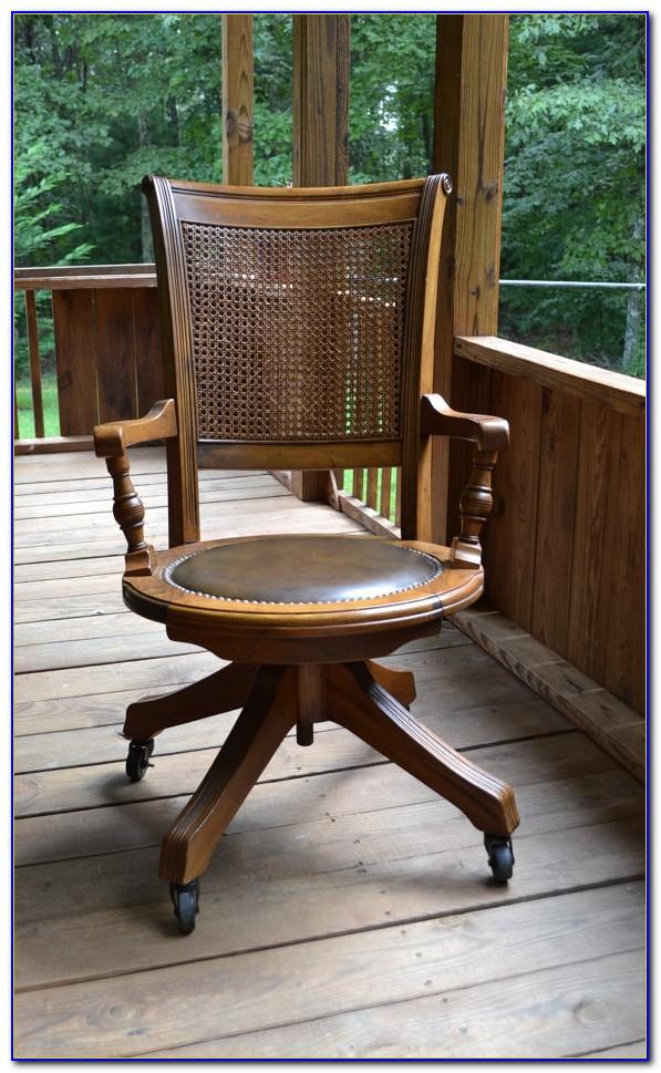 Old Wooden Swivel Desk Chair
