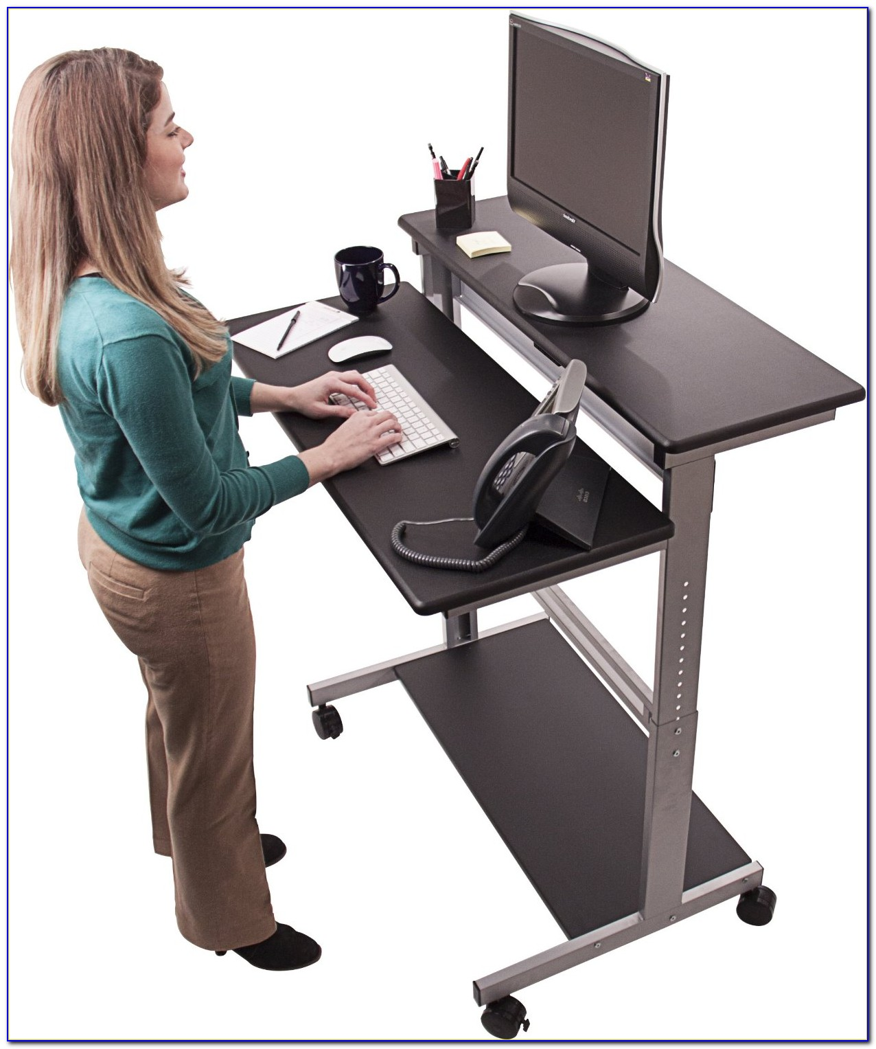 Rolling Stand Up Laptop Desk