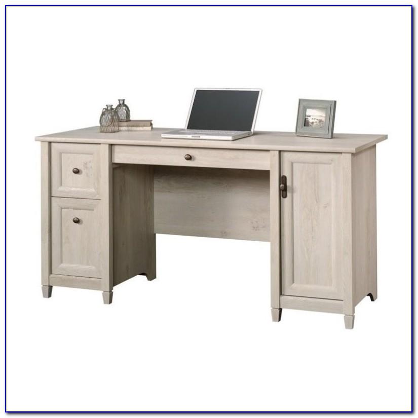 Sauder Edge Water Computer Desk With Hutch In Chalked Chestnut